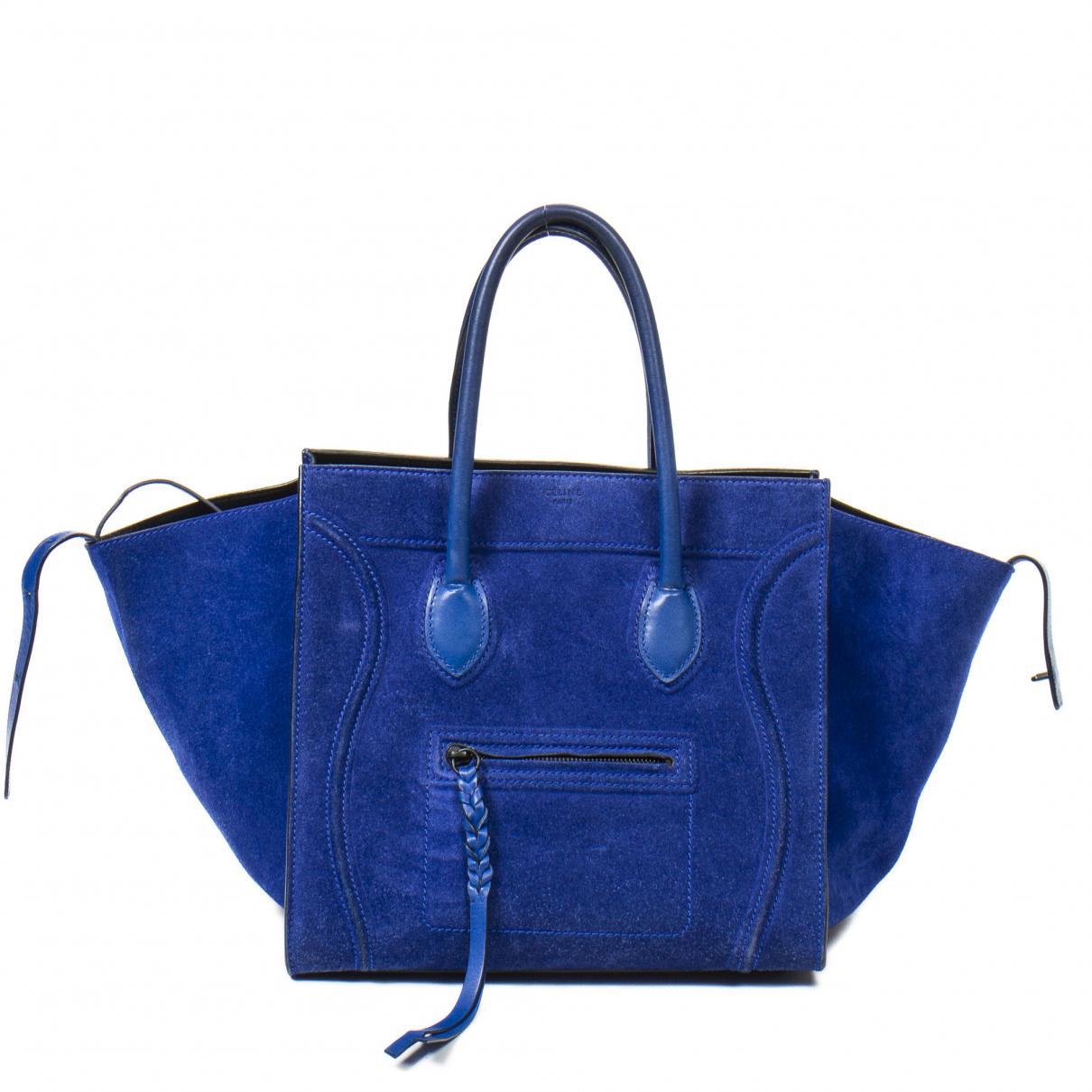 Celine Luggage Phantom Blue Leather handbag for Women \N