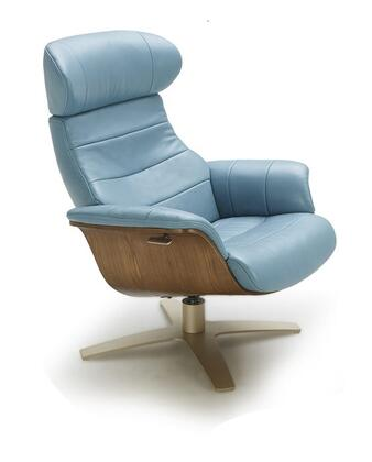 Karma Collection 180481-C Lounge Chair with Italian Leather Upholstery and Wood Veneer Outer Frame in
