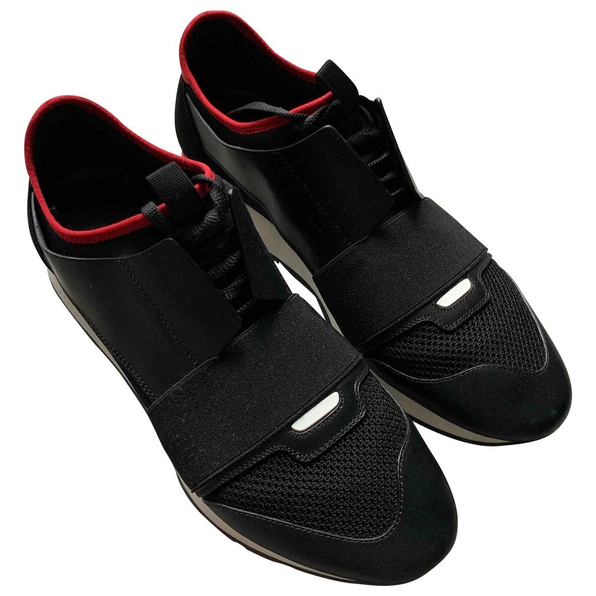 Balenciaga - Baskets Race pour homme en cuir - noir