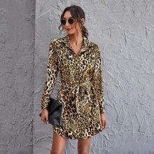 Vestidos Cinta Leopardo Elegante
