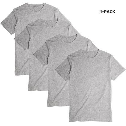 T-shirt � manches courtes M�lange de Gris - LIVINGbasics � - 4 Paquets, XL
