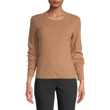 Liz Claiborne Womens Round Neck Long Sleeve Pullover Sweater, Petite X-small , Beige