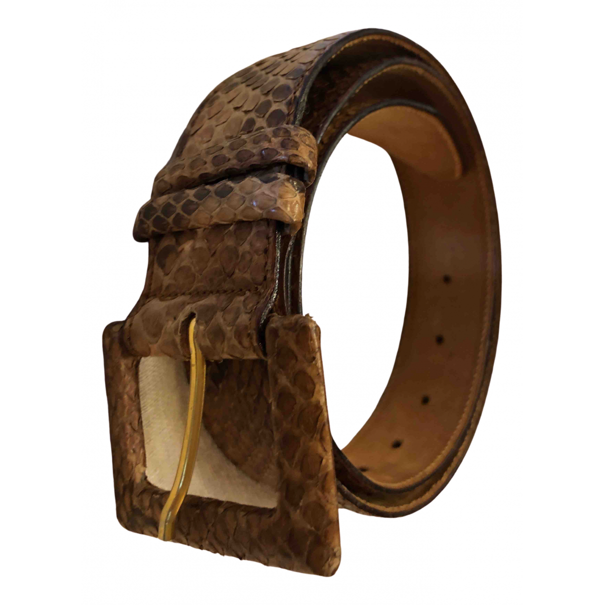 Non Signé / Unsigned \N Beige Python belt for Women 85 cm