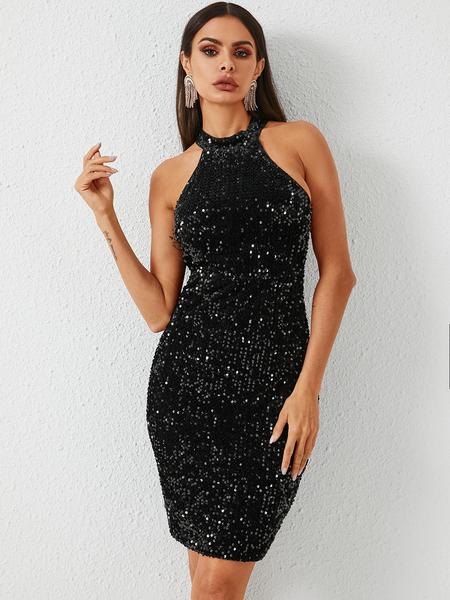 YOINS Black Sequins Embellished Halter Sleeveless Dress