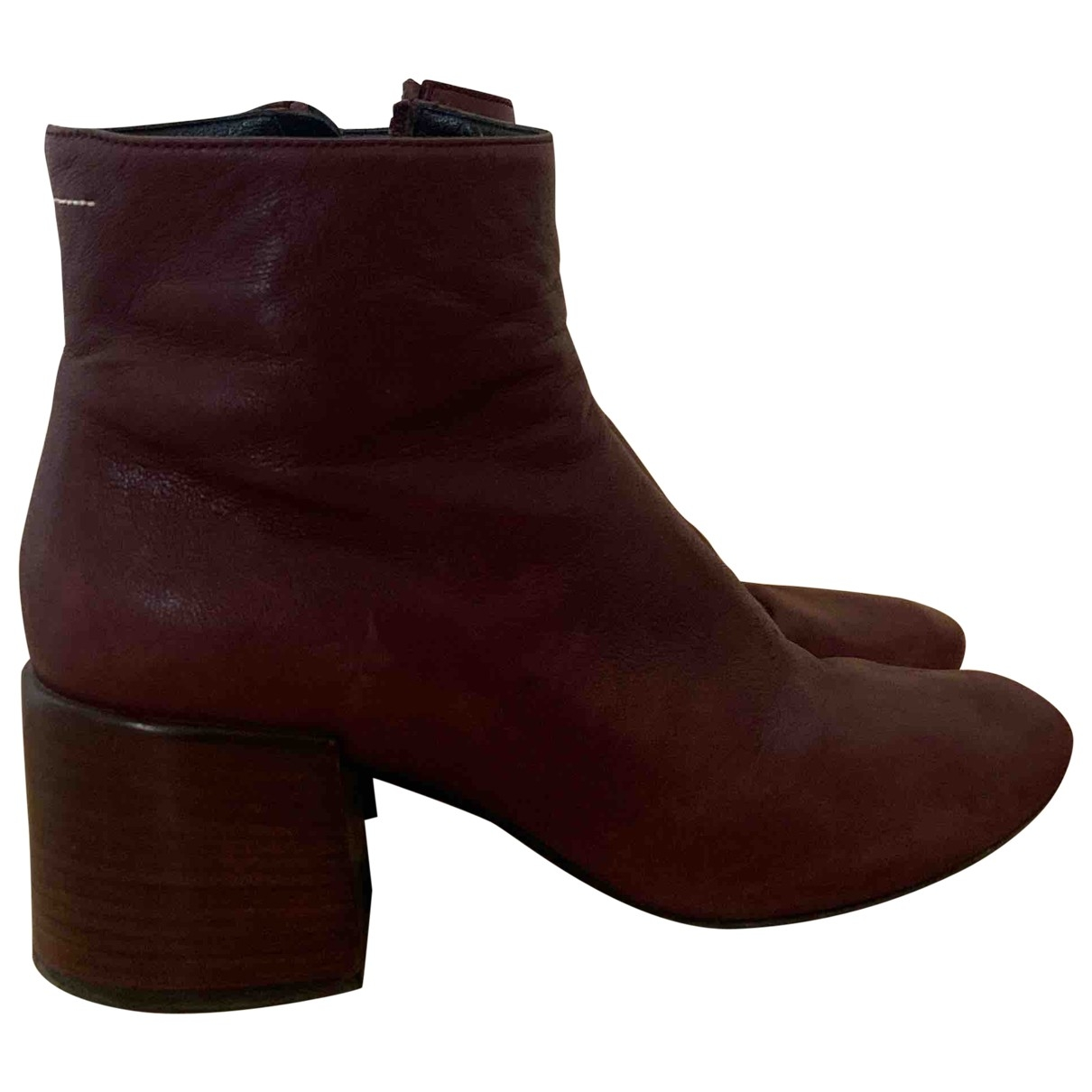 Mm6 \N Burgundy Leather Ankle boots for Women 40 EU