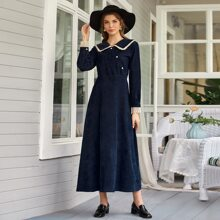 Kord Kleid mit Knopfen vorn und Kontrast Einsatz