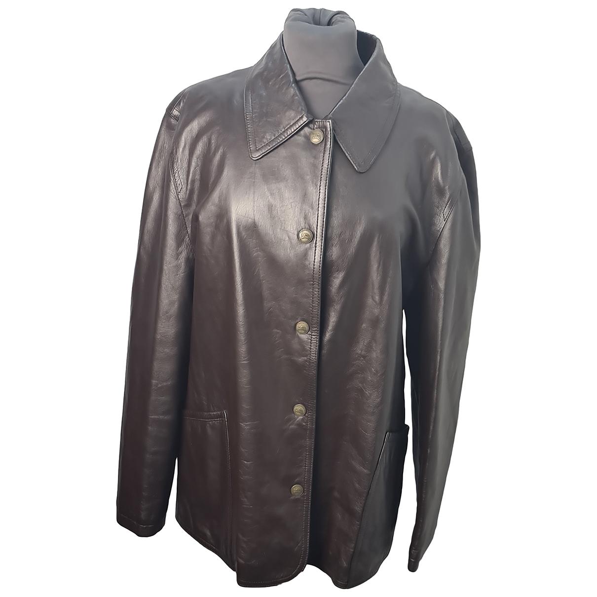 Burberry - Vestes.Blousons   pour homme en cuir - marron