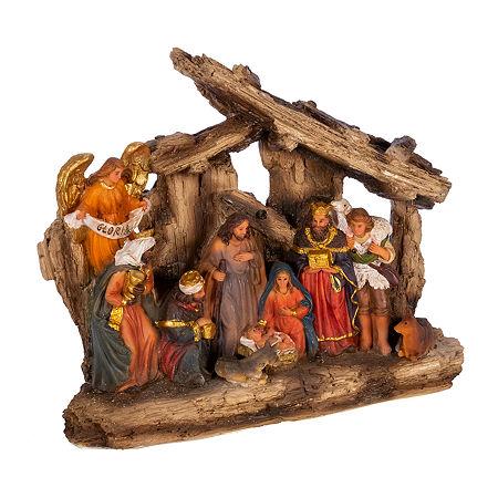 Kurt Adler 7-Inch 11-Pc. Resin Nativity Christmas Figurine, One Size , Multiple Colors