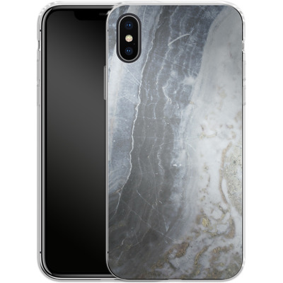 Apple iPhone X Silikon Handyhuelle - Desaturated Marble von Emanuela Carratoni