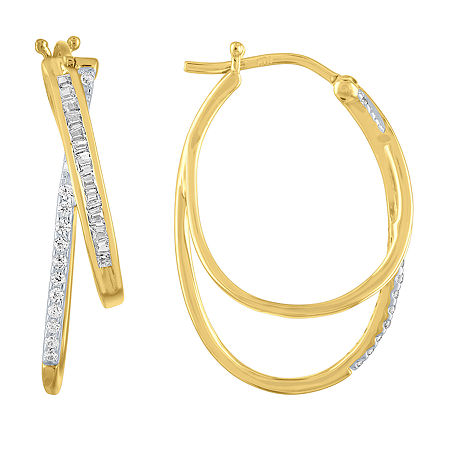 1/4 CT. T.W. Genuine Diamond 10K Gold 24mm Hoop Earrings, One Size , No Color Family