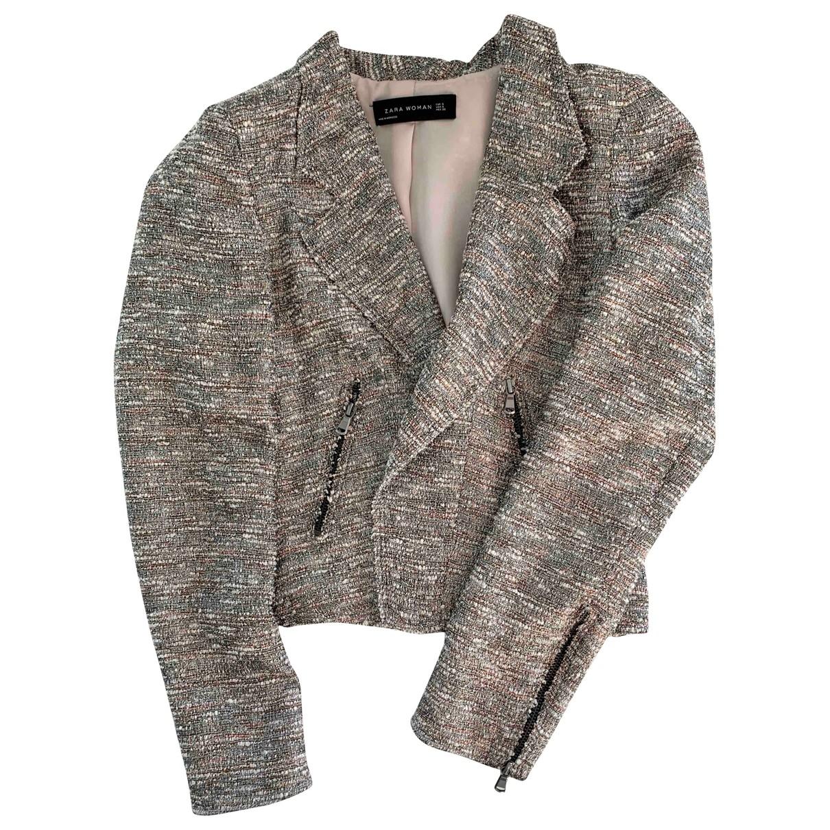 Zara \N Jacke in  Silber Tweed