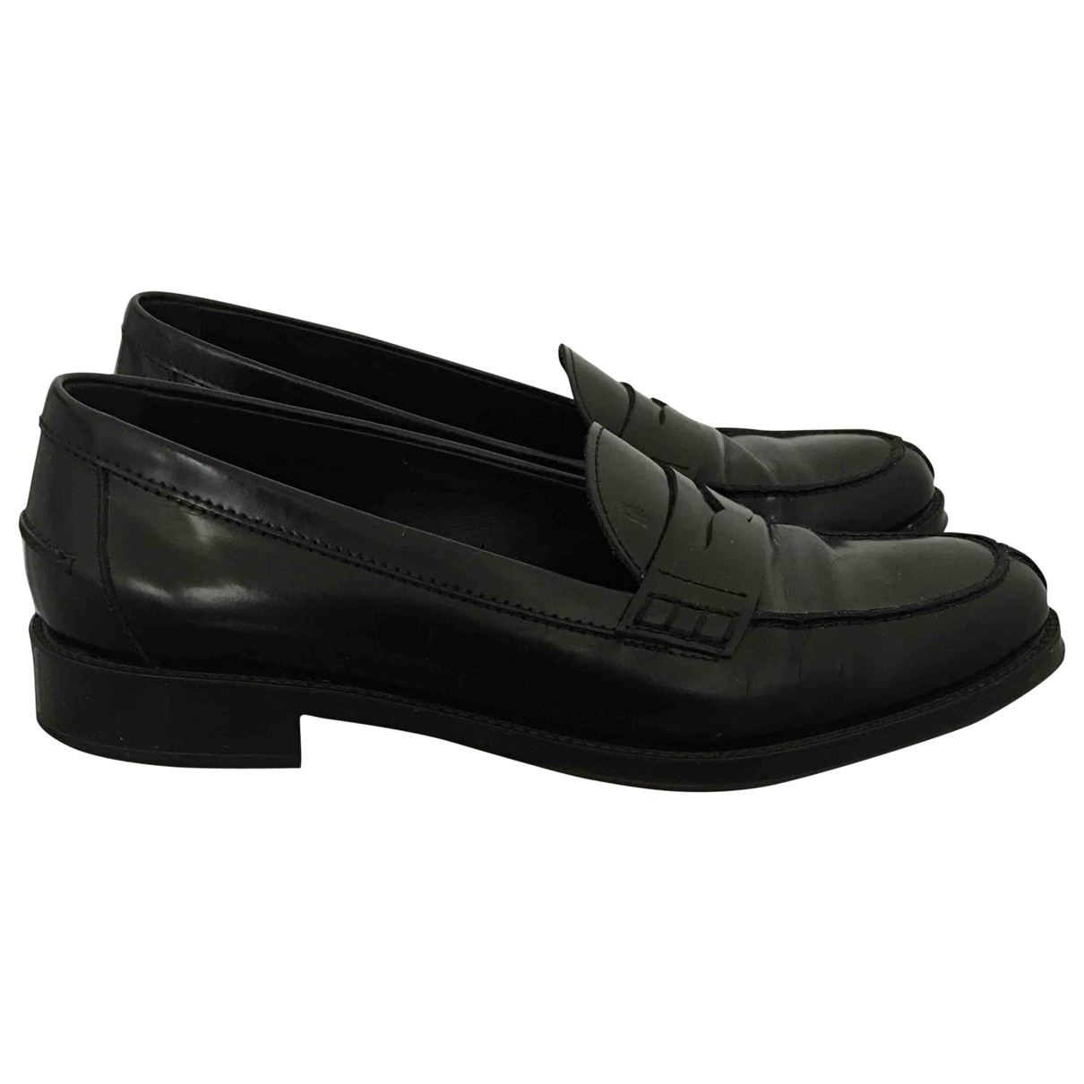 Tod's \N Black Leather Flats for Women 38.5 IT