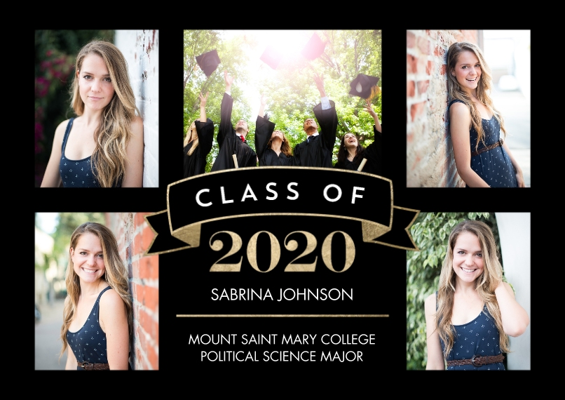 2020 Graduation Announcements 5x7 Cards, Premium Cardstock 120lb, Card & Stationery -2020 Grad Class Banner by Tumbalina