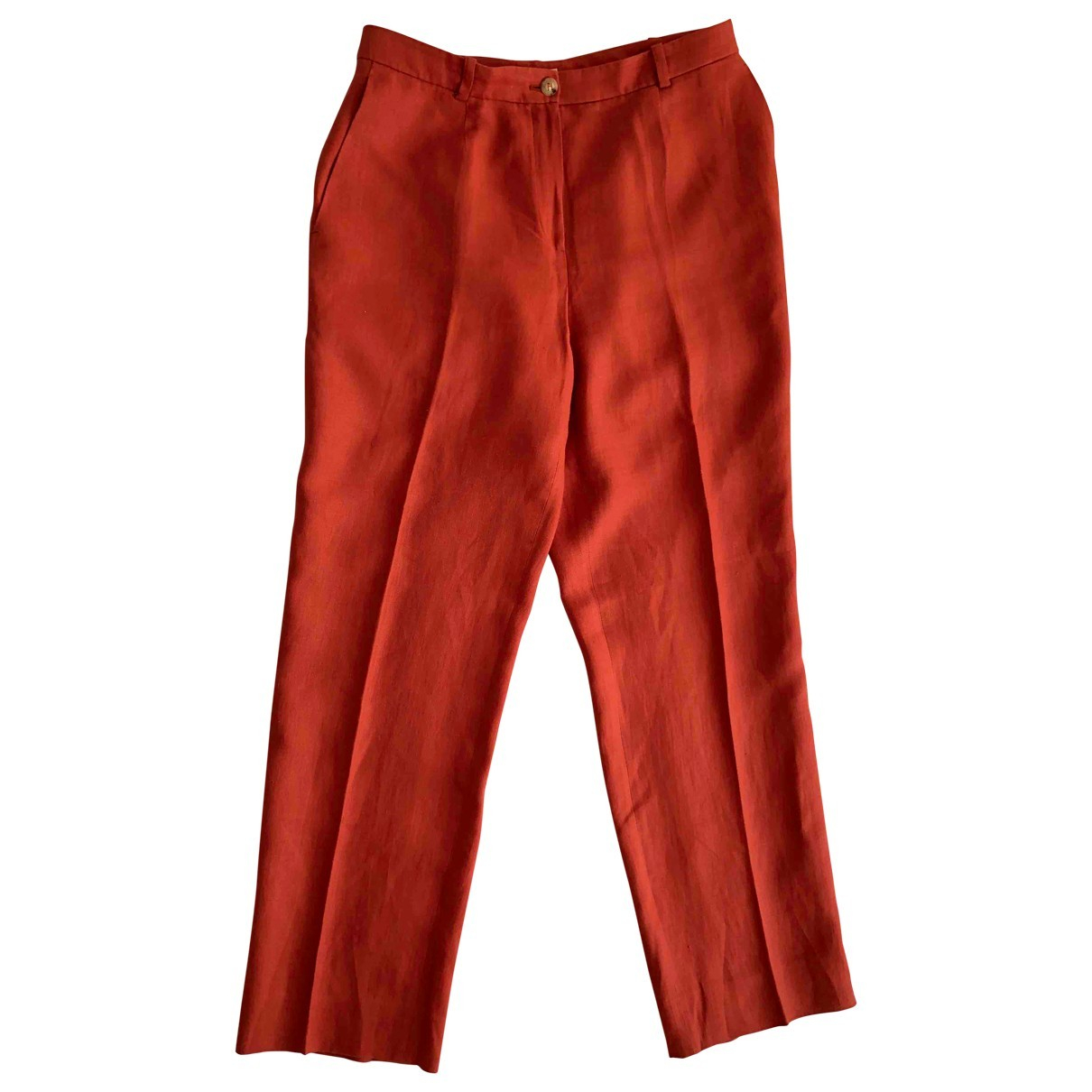 Hermès \N Red Linen Trousers for Women 44 FR