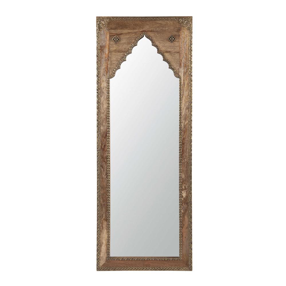 Spiegel geschnitzt aus Mangoholz und Metall 45x122
