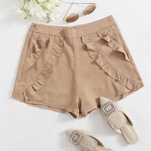 Shorts mit Reissverschluss und Ruesche Detail