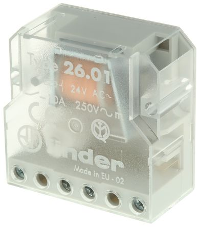 Finder , 24V ac Coil Non-Latching Relay SPNO, 10A Switching Current Panel Mount Single Pole