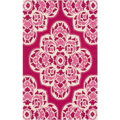 Rain RAI-1268 9' x 12' Rectangle Global Rug in Bright Pink