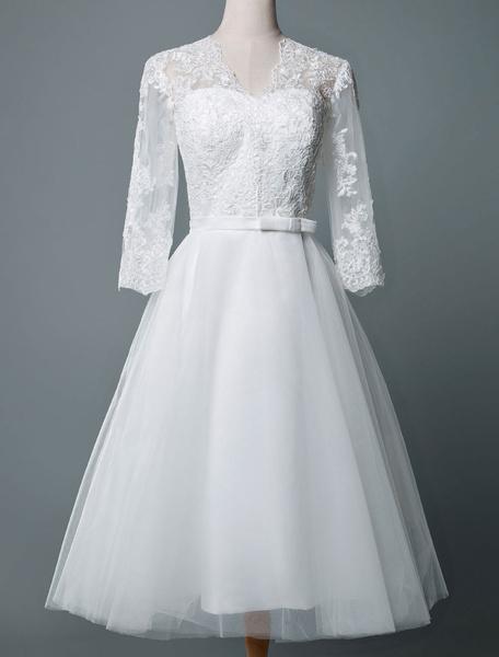 Milanoo Vestido de novia vintage hasta la rodilla con cuello en v medias mangas una linea de cintura natural tul vestidos de novia