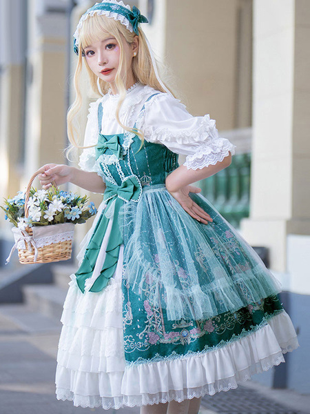 Milanoo Sweet Lolita JSK Dress Bow Lace Front Opening Floral Print Lolita Jumper Skirts