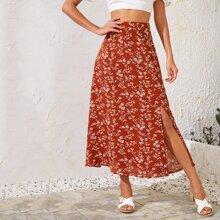 Split Hem Floral Print Skirt