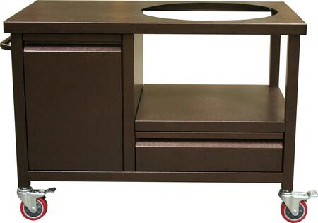 BGEC-COP Kamado Crate with Powder Coated Steel Frame  Towel Bar  1 Cabinet  1 Drawer and Heavy Duty Casters in