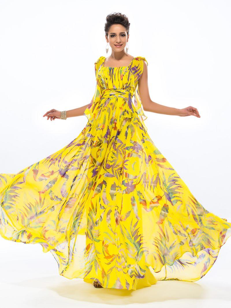 Ericdress Bowtie Straps Floral Print Prom Dress
