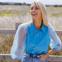 Sheer Organza Puff Sleeve Blouse