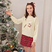 Jersey con patron de navidad con lentejuelas en contraste con letra