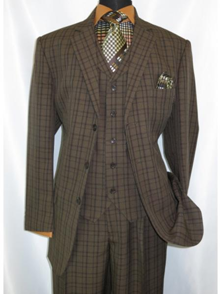 1920's Style Plaid Window Checker Pane Mens Suits Pleated Pants Brown