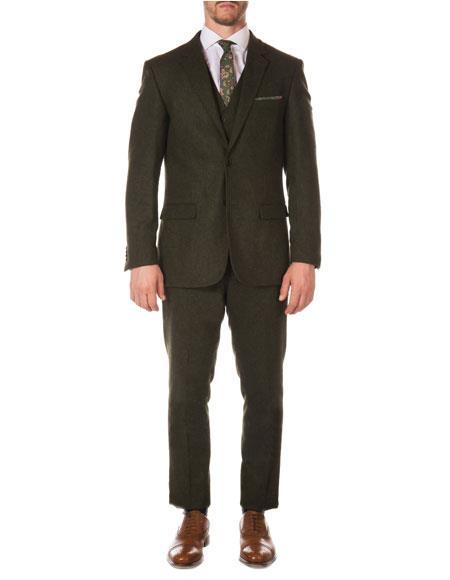 Mens Hunter Green Dark Olive Green Tween Herringbone Suit