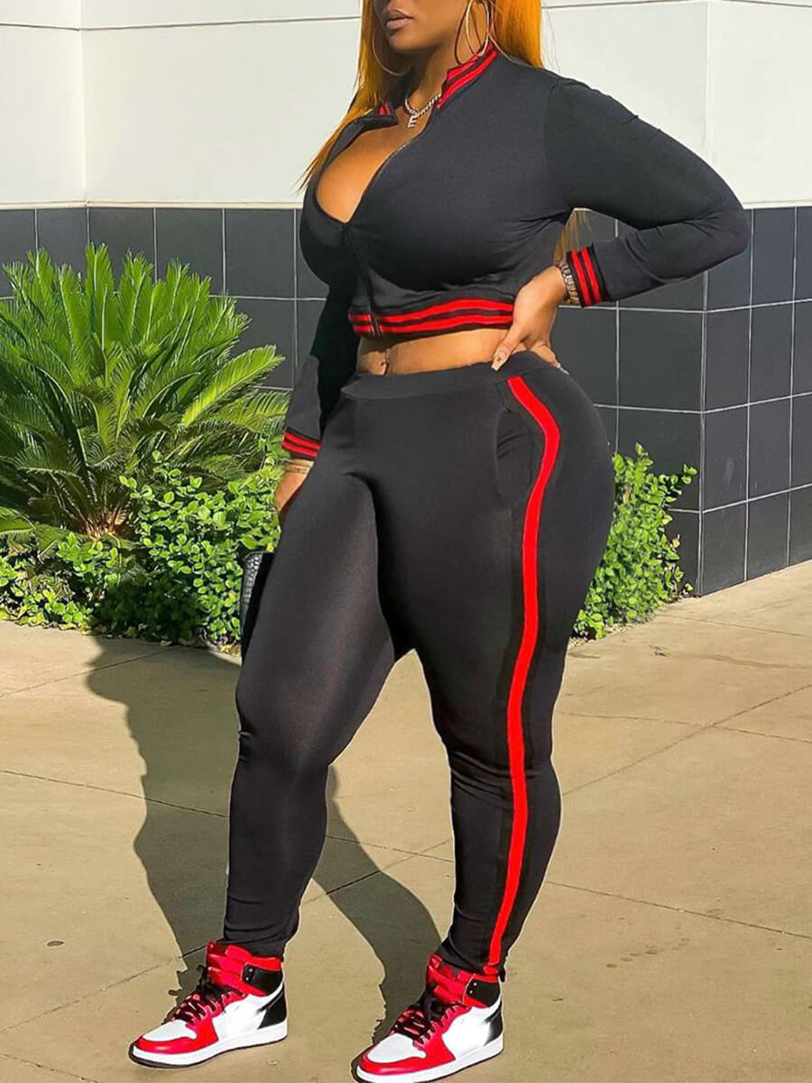 LW Lovely Sportswear Conventional Collar Patchwork Black Plus Size Two-piece Pants Set