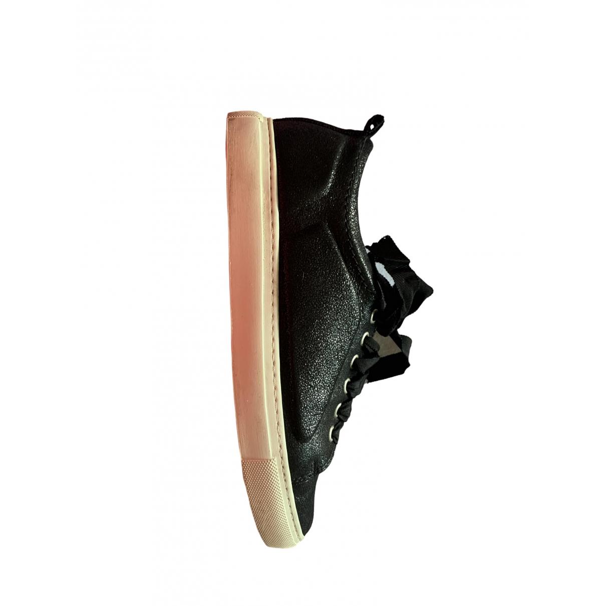 Lanvin - Baskets   pour femme en cuir - noir
