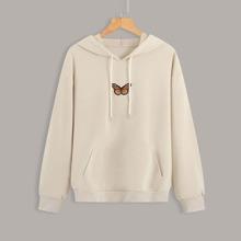 Capucha con cordon con bolsillo de canguro con parche de mariposa