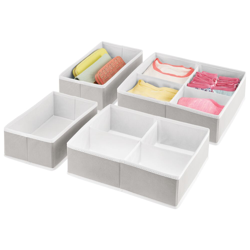 Fabric Drawer Organizer Set for Closet with White Trim in Light Gray/White, 7.25