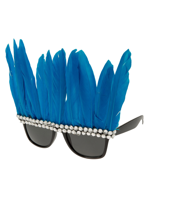 Kostuemzubehor Brille mit blauen Federn