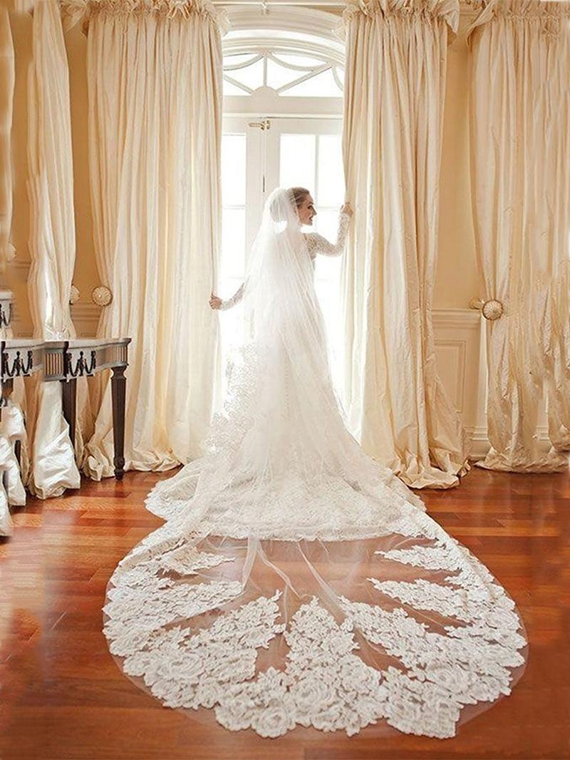 Ericdress 1T Appliques Long Bridal Wedding Veil