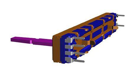 Alps Alpine 2 Gang Slide Potentiometer, ±20%, 0.125W Power Rating, Linear, Through Hole
