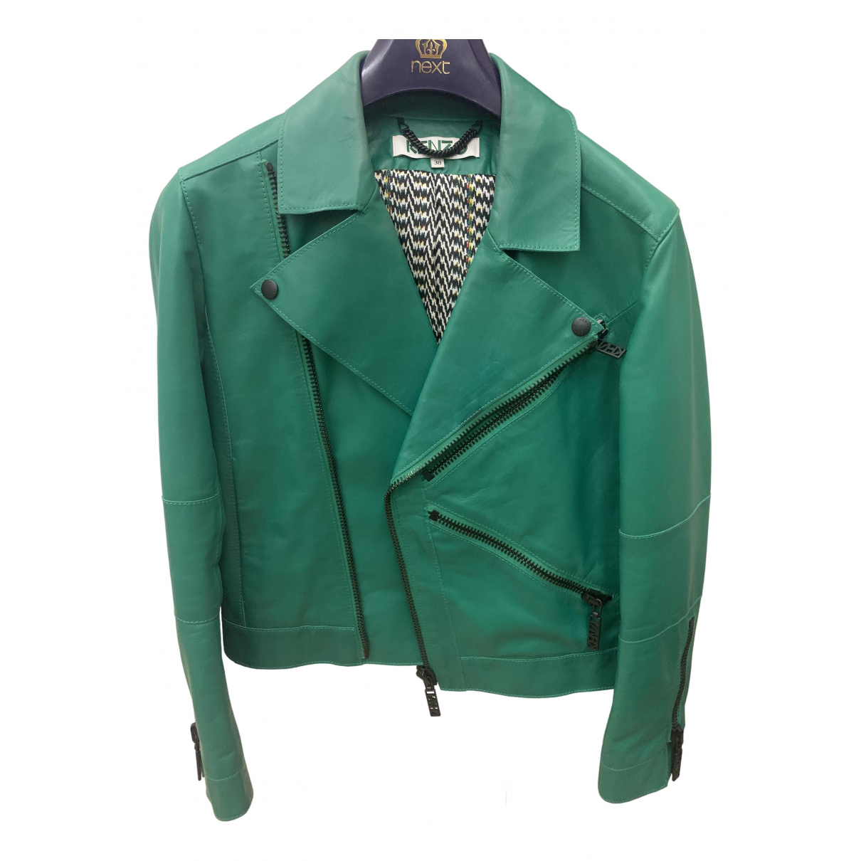 Kenzo \N Green Leather Leather jacket for Women 42 IT