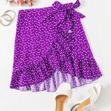 Confetti Heart Print Ruffle Hem Wrap Skirt