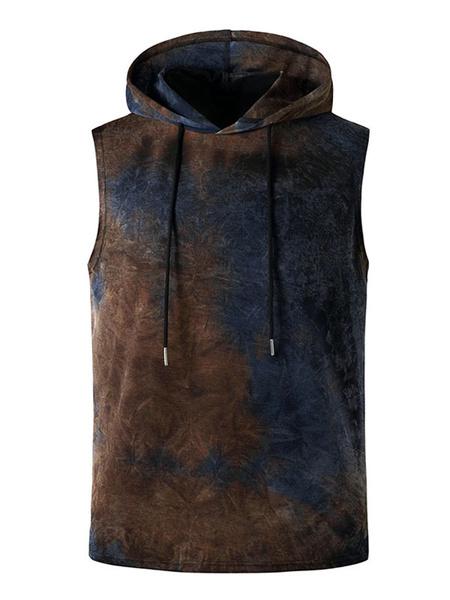 Milanoo Tanks Hooded Sleeveless T Shirts Tie Dye Summer Top