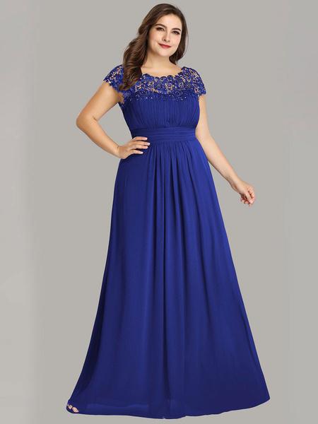 Milanoo Simple Wedding Dresses 2020 A Line Jewel Neck Lace Sleeveless Floor Length Lace Party Dresses