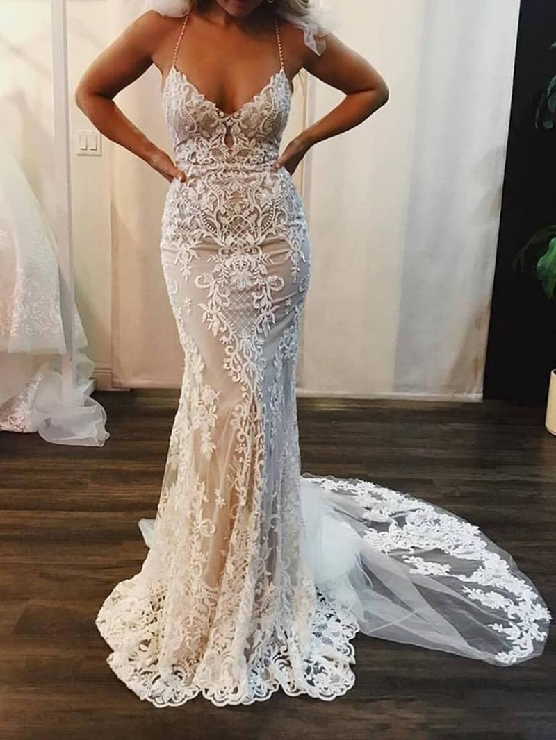 Ericdress Mermaid Beading Spaghetti Straps Lace Wedding Dress