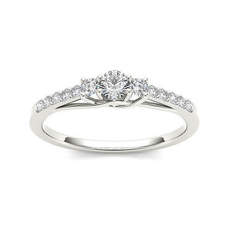 1/3 CT. T.W. Diamond 10K White Gold 3-Stone Engagement Ring, 6 1/2 , No Color Family