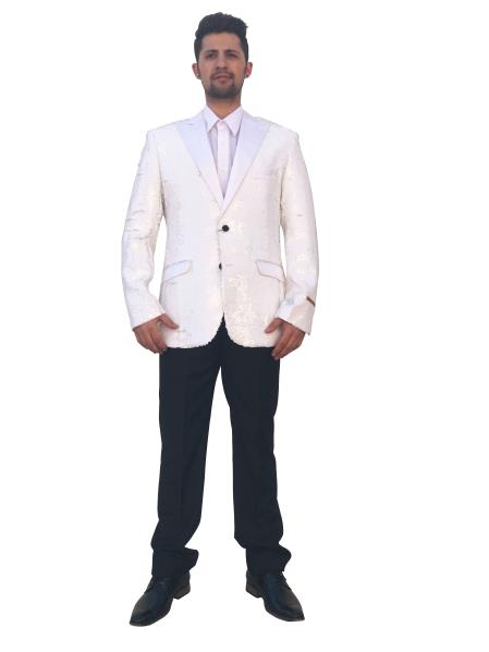 Mens Shiny 2 Button White Single Breasted Blazer~Sport Coat