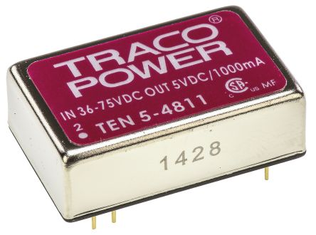 TRACOPOWER TEN 5 6W Isolated DC-DC Converter Through Hole, Voltage in 36 → 72 V dc, Voltage out 5V dc