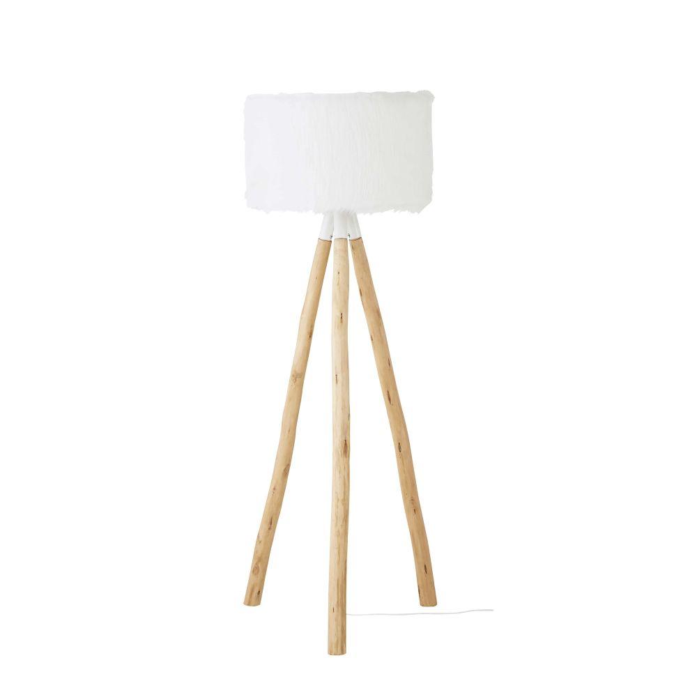 Stehlampe aus Eukalyptusholz mit Schirm aus weissem Kunstfell H157