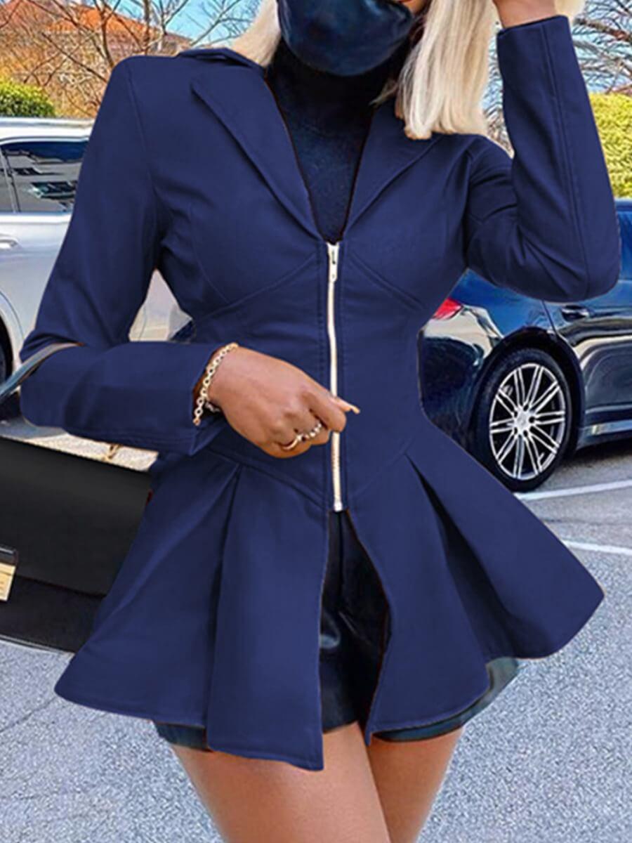 LW Lovely Trendy Turndown Collar Fold Design Blue Leather