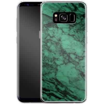 Samsung Galaxy S8 Silikon Handyhuelle - Green Marble von caseable Designs