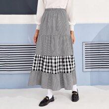 Gingham Ruffle Hem Maxi Skirt